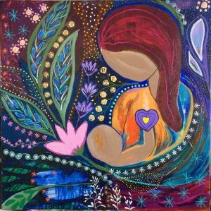 """""""Oxytocin Rising"""" 24 x24 acrylic/mixed media on canvas"""